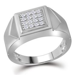 0.35 CTW Mens Diamond Square Cluster Faceted Fashion Ring 10KT White Gold - REF-44Y9X