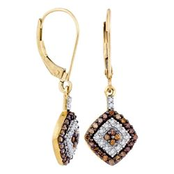0.50 CTW Cognac-brown Color Diamond Square Dangle Earrings 10KT Yellow Gold - REF-24F2N