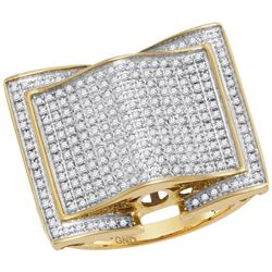 0.79 CTW Mens Diamond Arched Square Cluster Ring 10KT Yellow Gold - REF-75H2M