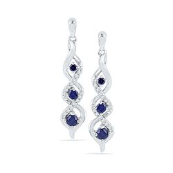 0.50 CTW Created Blue Sapphire Cascade Dangle Earrings 10KT White Gold - REF-19Y4X