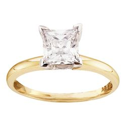 0.89 CTW Princess Diamond Solitaire Bridal Engagement Ring 14KT Yellow Gold - REF-285Y2X