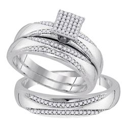 0.25 CTW His & Hers Diamond Matching Bridal Ring 10KT White Gold - REF-52F4N