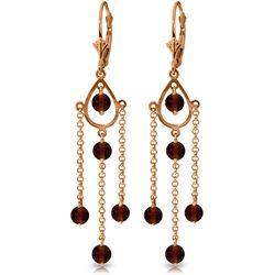 Genuine 3 ctw Garnet Earrings Jewelry 14KT Rose Gold - REF-48T9A