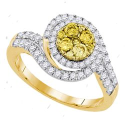 0.98 CTW Yellow Diamond Halo Cluster Swirl Ring 14KT Yellow Gold - REF-116W9K