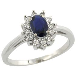 Natural 0.86 ctw Blue-sapphire & Diamond Engagement Ring 14K White Gold - REF-56X2A