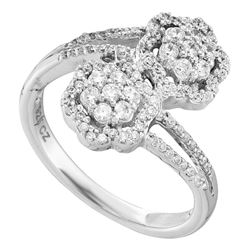 0.47 CTW Diamond Double Bypass Flower Cluster Ring 14KT White Gold - REF-61F3N