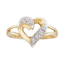 0.05 CTW Diamond Split-shank Heart Ring 10KT Yellow Gold - REF-12H2M