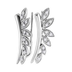 0.25 CTW Diamond Floral Earrings 10KT White Gold - REF-30K2W