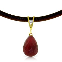 Genuine 15.51 ctw Ruby & Diamond Necklace Jewelry 14KT Yellow Gold - REF-30N2R