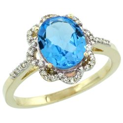 Natural 1.85 ctw Swiss-blue-topaz & Diamond Engagement Ring 10K Yellow Gold - REF-29G3M