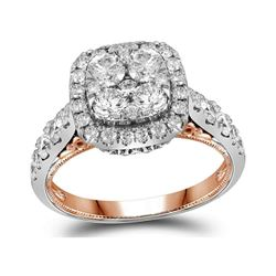 2 CTW Diamond Sqaure Halo Cluster Bridal Engagement Ring 14KT Two-tone Gold - REF-240K2W