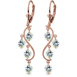 Genuine 4.5 ctw Aquamarine Earrings Jewelry 14KT Rose Gold - REF-66N2R