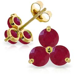 Genuine 1.50 ctw Ruby Earrings Jewelry 14KT Yellow Gold - REF-22K2V