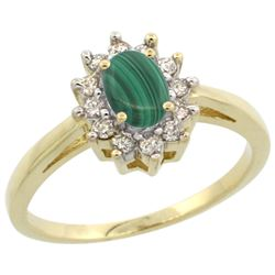 Natural 0.67 ctw Malachite & Diamond Engagement Ring 14K Yellow Gold - REF-47W7K