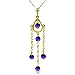 Genuine 1.50 ctw Amethyst Necklace Jewelry 14KT Yellow Gold - REF-29F7Z