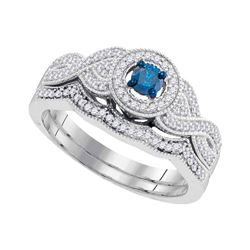 0.40 CTW Blue Color Diamond Bridal Engagement Ring 10KT White Gold - REF-44K9W