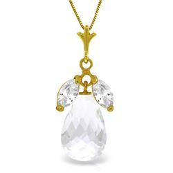 Genuine 7.2 ctw White Topaz Necklace Jewelry 14KT Yellow Gold - REF-30X5M