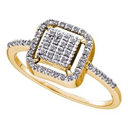 0.15 CTW Diamond Square Cluster Slender Ring 10KT Yellow Gold - REF-12X8Y