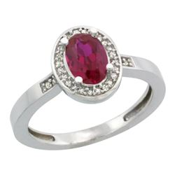 Natural 0.99 ctw ruby & Diamond Engagement Ring 14K White Gold - REF-45W3K
