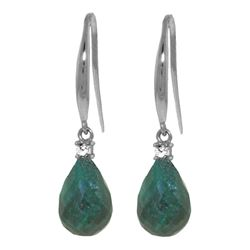 Genuine 6.7 ctw Green Sapphire Corundum & Diamond Earrings Jewelry 14KT White Gold - REF-28Y8F