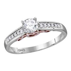 0.47 CTW Diamond Solitaire Bridal Engagement Ring 14KT White Gold - REF-120W2K