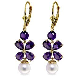 Genuine 6.28 ctw Amethyst & Pearl Earrings Jewelry 14KT Yellow Gold - REF-49A8K