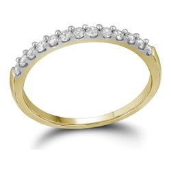 0.16 CTW Pave-set Diamond Wedding Ring 10KT Yellow Gold - REF-14N9F