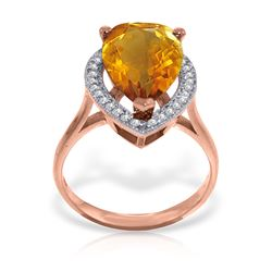 Genuine 3.41 ctw Citrine & Diamond Ring Jewelry 14KT Rose Gold - REF-75X4M