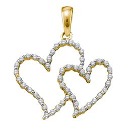 0.16 CTW Diamond Heart Love Pendant 10KT Yellow Gold - REF-11H2M
