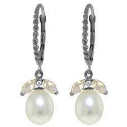Genuine 9 ctw White Topaz & Pearl Earrings Jewelry 14KT White Gold - REF-39N3R