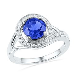 1.88 CTW Created Blue Sapphire Solitaire Diamond Ring 10KT White Gold - REF-22Y4X