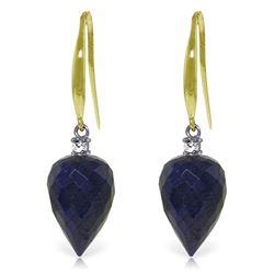 Genuine 25.9 ctw Sapphire & Diamond Earrings Jewelry 14KT Yellow Gold - REF-42Z9N