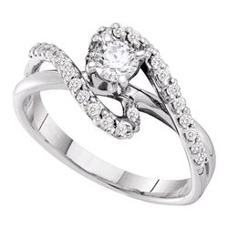 0.50 CTW Diamond Solitaire Swirl Bridal Engagement Ring 14KT White Gold - REF-86X8Y