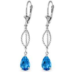 Genuine 3 ctw Blue Topaz Earrings Jewelry 14KT White Gold - REF-45A5K