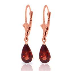 Genuine 2.45 ctw Garnet Earrings Jewelry 14KT Rose Gold - REF-28Y5F