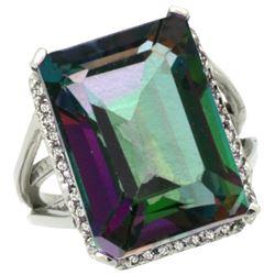 Natural 15.06 ctw Mystic-topaz & Diamond Engagement Ring 14K White Gold - REF-81G9M