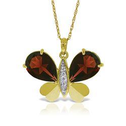 Genuine 7.1 ctw Garnet & Diamond Necklace Jewelry 14KT Yellow Gold - REF-126Y5F