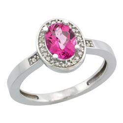Natural 1.08 ctw Pink-topaz & Diamond Engagement Ring 14K White Gold - REF-31H3W