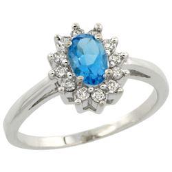 Natural 0.67 ctw Swiss-blue-topaz & Diamond Engagement Ring 10K White Gold - REF-38G8M