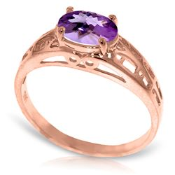 Genuine 1.15 ctw Amethyst Ring Jewelry 14KT Rose Gold - REF-32M3T