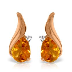 Genuine 3.26 ctw Citrine & Diamond Earrings Jewelry 14KT Rose Gold - REF-52H7X
