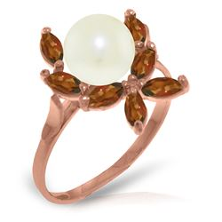 Genuine 2.65 ctw Pearl & Garnet Ring Jewelry 14KT Rose Gold - REF-28V5W