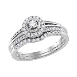 0.33 CTW Diamond Halo Bridal Engagement Ring 10KT White Gold - REF-41W3K