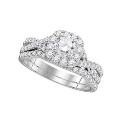 1 CTW Diamond Halo Bridal Engagement Ring 14KT White Gold - REF-172M4H
