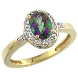 Natural 1.08 ctw Mystic-topaz & Diamond Engagement Ring 10K Yellow Gold - REF-25M5H