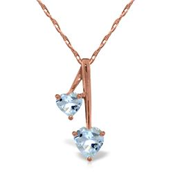 Genuine 1.40 ctw Aquamarine Necklace Jewelry 14KT Rose Gold - REF-27A8K