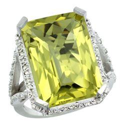 Natural 13.72 ctw Lemon-quartz & Diamond Engagement Ring 14K White Gold - REF-73X9A