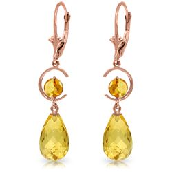 Genuine 11 ctw Citrine Earrings Jewelry 14KT Rose Gold - REF-46N7R