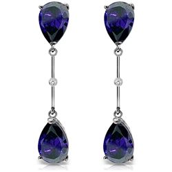 Genuine 7.01 ctw Sapphire & Diamond Earrings Jewelry 14KT White Gold - REF-78K9V