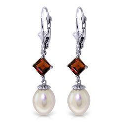 Genuine 9.5 ctw Pearl & Garnet Earrings Jewelry 14KT White Gold - REF-24V4W
